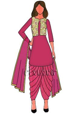 Pink N Cream Brocade Patiala Suit