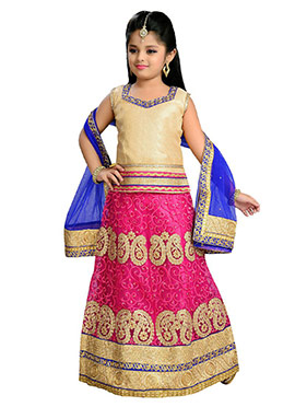 Pink N Golden Net Kids Lehenga Choli