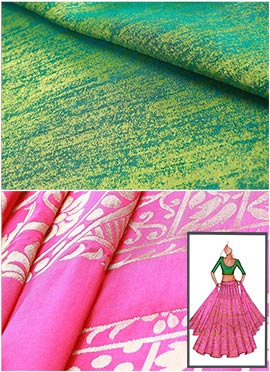 Pink N Green Umbrella Lehenga Choli
