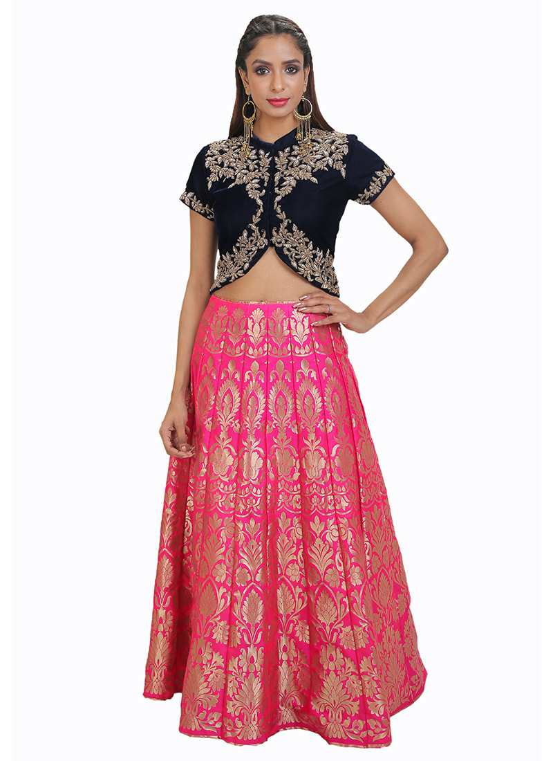 37e645795c9f Buy Pink N Navy Blue Jacquard Skirt Set, Jacquard , Embroidered ...