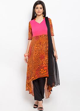 Pink N Orange Asymmetrical Anarkali Suit