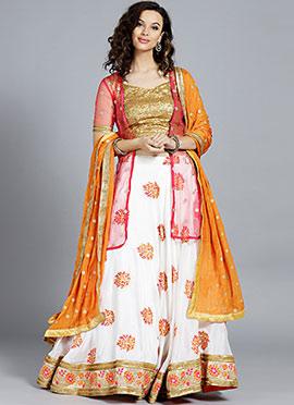 Pink N Orange Embroidered Umbrella Lehenga
