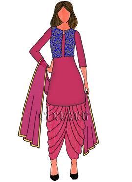 Pink N Royal Blue Brocade Patiala Suit