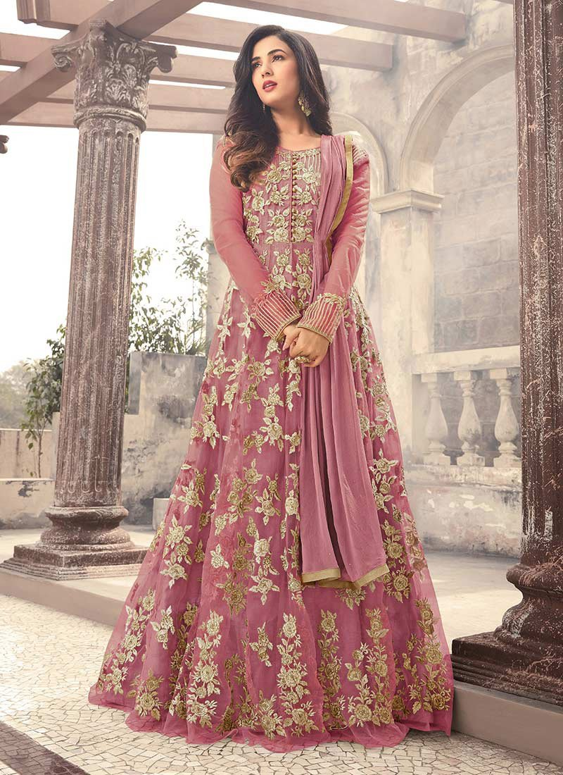 Pink Net Saree: Buy Pink Net Abaya Style Anarkali Suit, Embroidered