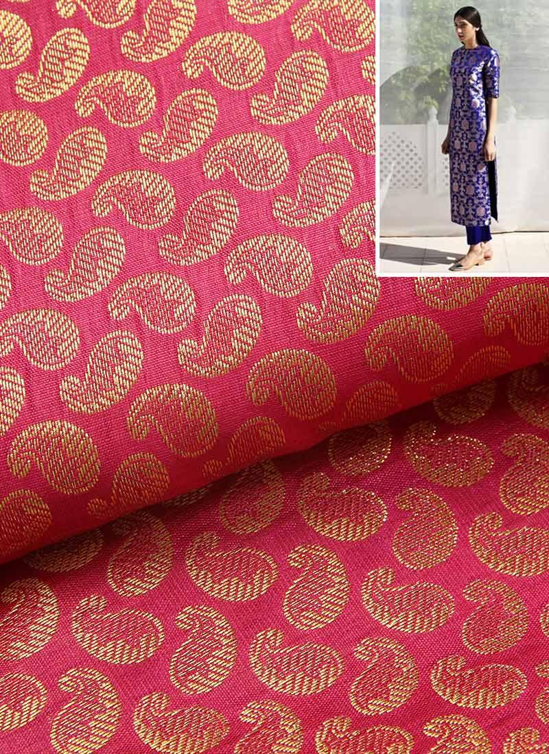 Pink Paisley Brocade Dress Material