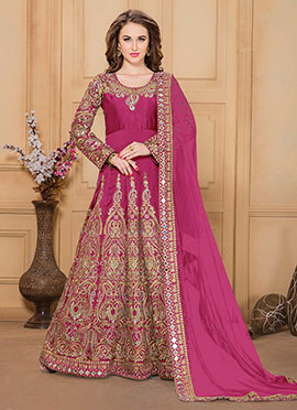 Pink Taffeta Silk Anarkali Suit
