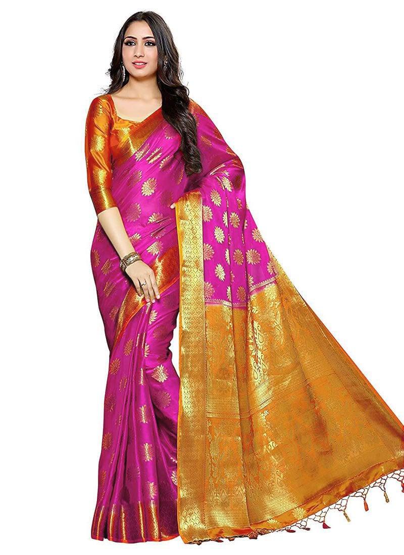 Pink Saree: Buy Pink Kancheepuram Silk Saree, Kancheepuram , Zari