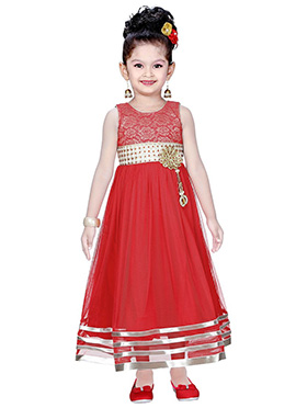 Pinkish Red Net Anarkali Gown