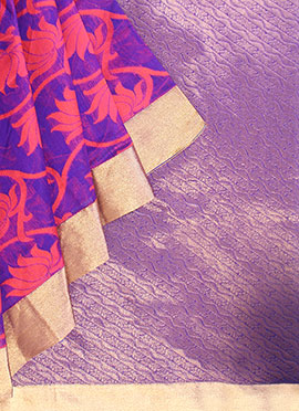 Pothys Violet N Coral Peach Art Silk Cotton Saree