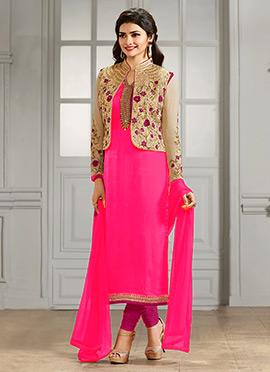 Prachi Desai Beige N Pink Straight Suit