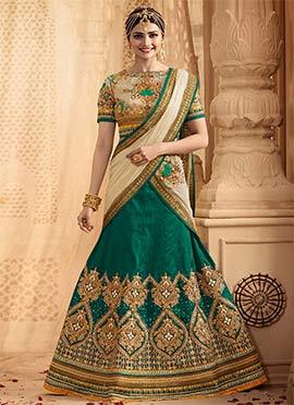 Prachi Desai Blue Shade A Line Lehenga