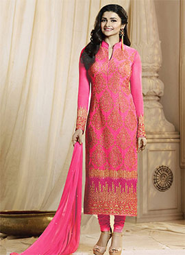 Prachi Desai Coral Pink Georgette Straight Suit