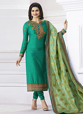 Prachi Desai Green Art Silk Straight Suit