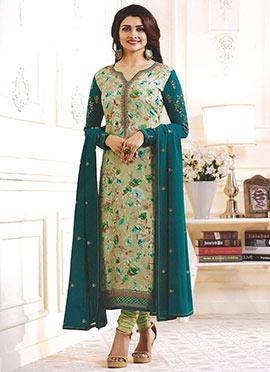 Prachi Desai Green Georgette Churidar Suit