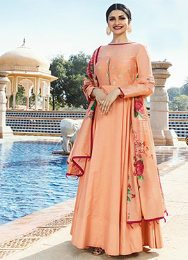 Prachi Desai Peach Embroidered Anarkali Gown