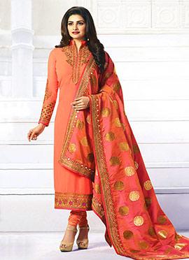 Prachi Desai Peach Georgette Straight Suit