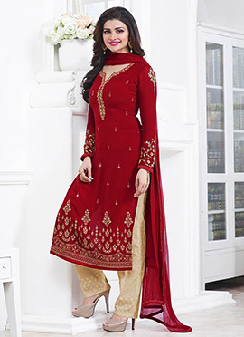 Prachi Desai Red Straight Pant Suit