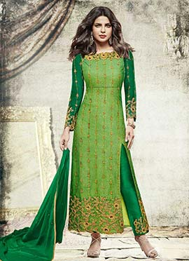 Priyanka Chopra Green Net Straight Pant Suit