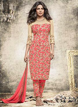 Priyanka Chopra Pink Straight Pant Suit