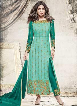 Priyanka Chopra Sea Green Embroidered Straight Sui