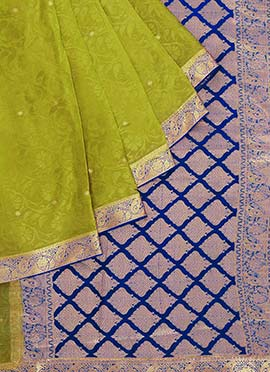 Pure Mysore Silk Parrot Green Saree