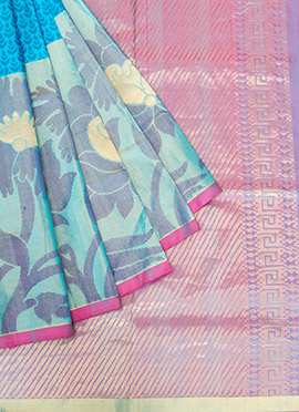 Pure Soft Silk Turquoise Blue Saree