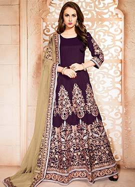 Purple Art Silk Embroidered Floor Length Anarkali