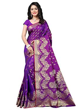 Purple Benarasi Silk Saree