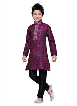 Purple Brocade Embroidered Teens Kurta Pyjama