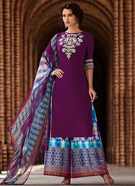 Purple Cotton Palazzo Suit