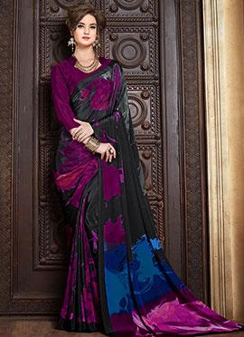 Purple N Black Crepe Saree