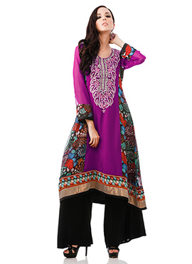 Purple N Multicolored Plus Size Kurti