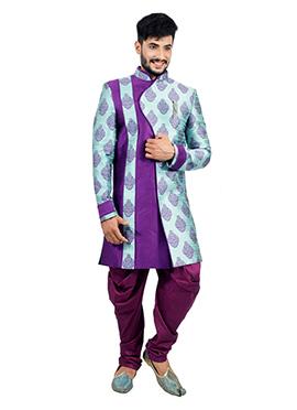 Purple N Turquoise Indowestern Sherwani