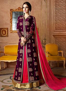 Purple Raw silk A Line Lehenga