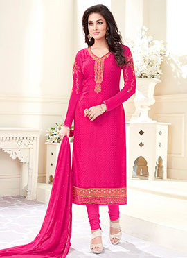 Rani Pink Embroidered Straight Suit