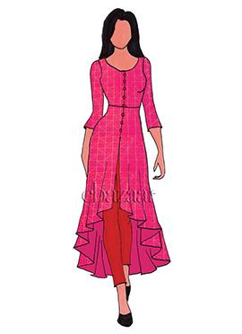 Rani Pink Mogra Silk Asymmetrical Top