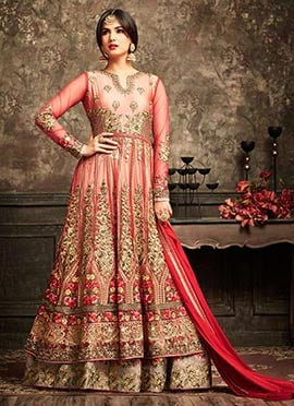 Red Abaya Style Anarkali Suit