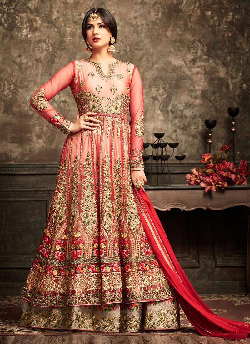 Buy Red Abaya Style Anarkali Suit Embroidered Anarkali