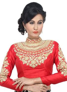 Red Art Dupion Silk Blouse