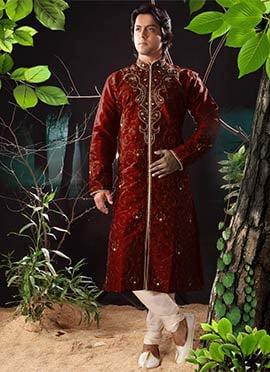 Maroon Art Dupion Silk Kurta Pyjama