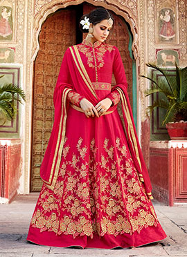 Red Art Silk Net Abaya Style Anarkali Suit