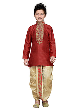 Red Art Silk Teens Dhoti Kurta