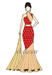Red Art Silk and Golden Haze Georgette Fish Cut Le