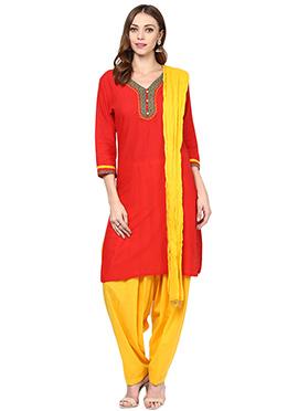 Red Cotton Patiala Suit
