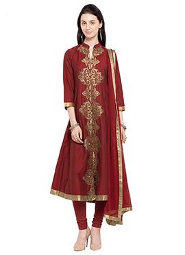 Maroon Cotton Silk Anarkali Suit