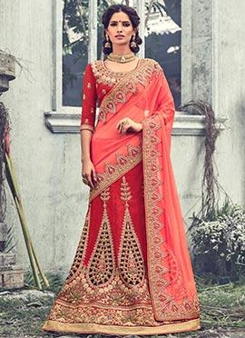 Red Cut Work Raw silk A Line Lehenga Choli