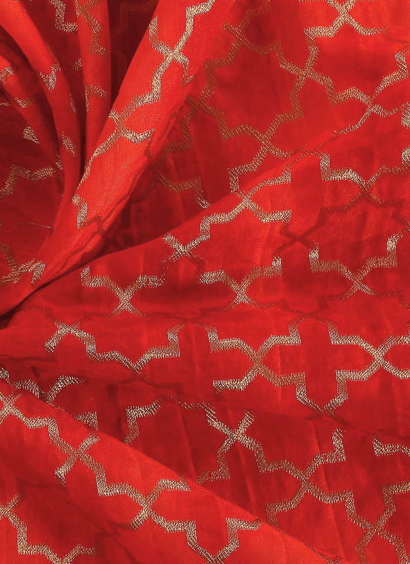 Buy Red Embroidered Art Silk Fabric Blended Patterned