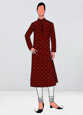 Red Foil Printed Kurta Pyjama