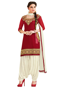 Red Georgette Embroidered Patiala Suit