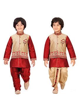 Maroon N Beige Kids Dhoti Kurta N Bandi Set Combo